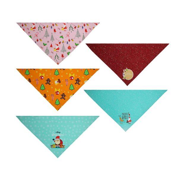 Christmas Custom Printed Logo Dog Triangle Scarf for Animals