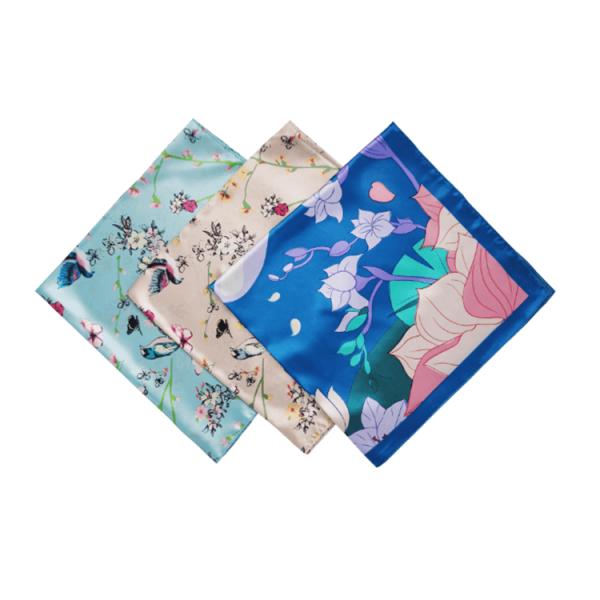 Custom Fashion Silk-like Reusable Custom Logo Silk Square Bandana