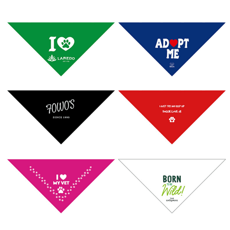 Custom Logo Printed Triangle Dog Scarf Bandana For Pet